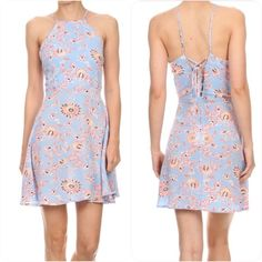 | new | printed sleeveless dress Print, sleeveless short dress in a relaxed style with a crew neck, an open back and pleated detailing. SHELL: 100% RAYON Dresses Mini