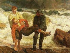 Tuxen, Laurits (1853-1927) - 1913c The Drowned Man Brought Ashore (Skagen Museum, Denmark)  Oil on canvas