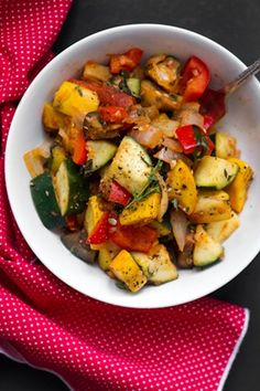 OH SHE GLOWS: Ratatouille Inspired Summer Veggie Dish: green/yellow zucchini, eggplant, red pepper, onion, & marinara sauce Veggie Recipes, Vegetarian Recipes, Cooking Recipes, Healthy Recipes, Clean Eating, Healthy Eating, Fruits And Veggies, Vegetables, Vegetable Dishes
