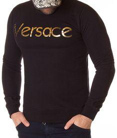 Versace Bluza Gold Print AW2012 - Neagra | Pulovere | Bluze | Brande Donatella Versace, Gianni Versace, Gold Print, Christopher Kane, Barbie, Sweatshirts, Sweaters, Fashion, Haute Couture