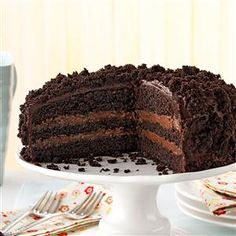 Brooklyn Blackout Cake Recipe -If you love chocolate, you will LOVE this cake. I found this recipe when looking for a special cake to make my chocolate-loving daughter-in-law's birthday. Be sure to give the pudding and the cake enough time to cool or the end results will be disappointing. —Donna Bardocz, Howell, Michigan