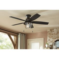 Shop Hunter Allegheny 52-in New Bronze Outdoor Flush Mount Ceiling Fan with Light Kit at Lowes.com