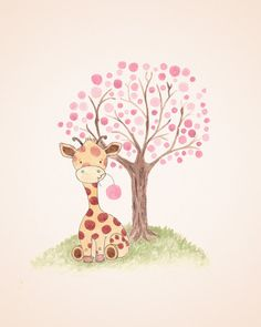 Giraffe Nursery Art Baby Girl Nursery Kids от TheDaisyFields