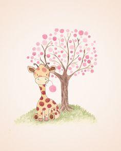 Giraffe Nursery Art Baby Girl Nursery Kids от TheDaisyFields