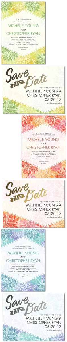 Divine Dahlias Wedding Invitations | Shows Matching Save the Date Card