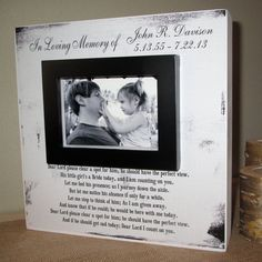 Personalized In Loving Memory Dad Wedding by WordsofWisdomNH pictures frame Personalized In Loving Memory Dad Wedding Picture Frame Wood box In Loving Memory Sign Wedding Memory Father of the Bride Wedding Picture Frames, Wedding Frames, Wedding Signs, Wedding Pictures, Our Wedding, Dream Wedding, Wedding Bells, Fall Wedding, Rustic Wedding