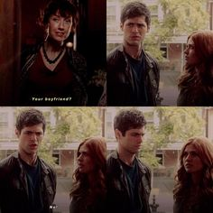 """I love how Clary is like """"how did you make that match?!"""" and Alec is like """"Eww! No! I have a bf! WTF?!"""" and then he looks at Clary like """"WTF did you tell her?!"""" xxx"""