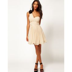 Little Mistress Corseted Waist One Shoulder Dress ($54) via Polyvore