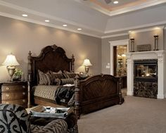 Dark Wood Bed in Elegant Master Bedroom - Home Decorating Ideas ...