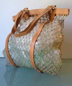 Vintage Fish Net Tote Bag With Leather Accents by TheOldBagOnline on Etsy
