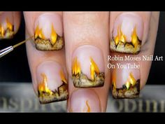 Get your out and lets burn some love letters on ! Learn to paint in the cutest way and its awesome for fren. Neon Nail Art, Nail Art Set, Easy Nail Art, Nail Art Designs, Flame Nail Art, Design Youtube, Lines On Nails, Nail Art For Beginners, Fire Nails