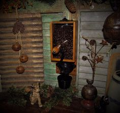 Primitive Antique Vtg Cast Iron Wooden Glass X Ray Coffee Grinder Mill w/ Cup #NaivePrimitive