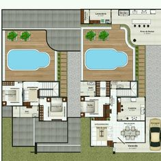 Casas e sobrados Small House Plans, House Floor Plans, Site Plan Design, Studio Apartment Floor Plans, Duplex House Design, Interior Photo, Home Projects, Tiny House, Architecture Design