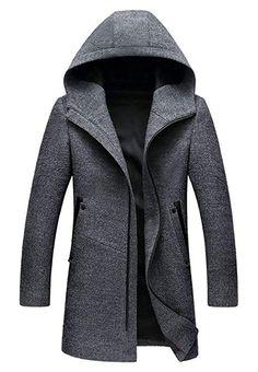 Winter Long Hooded Trench Coat Men Winter Casual Men's Wool Hoodie Trench Coats Zipper Slim Fit Mens Windbreaker Pea Coat Size M Color Black Hooded Trench Coat, Long Trench Coat, Hooded Parka, Hooded Coats, Hooded Jacket, Traje Slim Fit, Mens Wool Coats, Mens Long Wool Coat, Long Overcoat