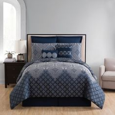 A sophisticated blue palette gives a medallion and stylized floral print on the Adisha 8 Piece Comforter Set by VCNY Home the power to enchant. Ruffle Bedding, Blue Bedding, Bed Sets, Red Comforter Sets, Country Bedding Sets, Bedding Sets Online, Luxury Bedding, Decorative Pillows, Comforters