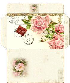 ♥ Envelope Template Printable, Printable Paper, Free Printable, Vintage Postcards, Vintage Images, Etiquette Vintage, Art Carte, Envelope Art, Paper Tags