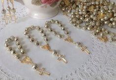 12 1 dozen mini decade Rosary Baptism 1st Communion wedding party favors gold
