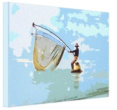 Shop Singapore Fisherman - Stretched Canvas Print created by TheDigitalConsultant. Singapore Art, Original Art, Original Paintings, Poster Prints, Posters, Stretched Canvas Prints, Online Art Gallery, Stretching, Wrapped Canvas