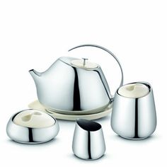 Helena Rohner for Georg Jensen Helena Tea Service in stainless steel and porcelain at www.fjorn.com