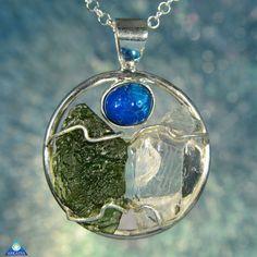 Cavensite Herkimer Diamond & Moldavite by ArkadianCollection