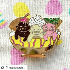 Checkout these cuties by #Repost @sassquatch__ !!! Too cute to eat! ・・・ New pins have arrived🍨🍧🍨🍧Neapolitan Kitties💕 These three chubsters have been hanging out at the local pudding parlour, licking up leftovers!🍨🍧🍨🍧 The detailing on this pin is crazy😍Shop link in bio💕 ShopSassquatch.Etsy.Com #pingame #icecream #bananafloat #kitties #cats #kittens #catsofig #pins #pin #pingame #pingram #pinstagram #lapelpins