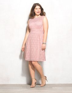 Plus Size Pink Lace Dress