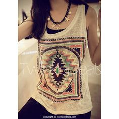 Ethnic Scoop Neck Loose-Fitting Geometric Top For Women