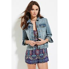 Forever 21 Women's  Buttoned Denim Jacket ($23) ❤ liked on Polyvore featuring outerwear, jackets, padded jacket, denim jacket, blue cotton jacket, button jacket and light weight denim jacket