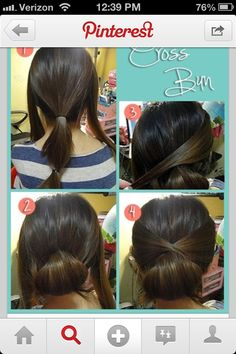 Short hair styles Hair Hair hair Simple hair style - ANYONE can do. so next time u think about a pony tail(wearing it in the same spot eve. Super Easy Hairstyles, Pretty Hairstyles, Style Hairstyle, Summer Hairstyles, Braid Hairstyles, Donut Bun Hairstyles, Fringe Hairstyle, Men's Hairstyle, Funky Hairstyles