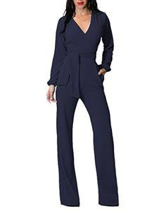 95459570ec3 Long Sleeve Pants Jumpsuit For Women VNeck Wide Leg Rompers With Belt M  Navy
