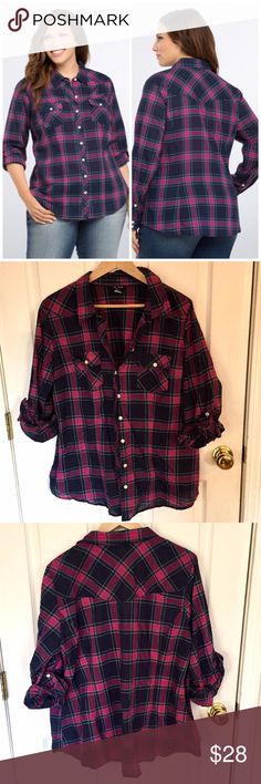 """Torrid Plaid Button Down Camp Shirt Size 2 Plaid camp shirt from Torrid size 2.  Gently worn, no flaws.  Button front, button sleeves, chest pockets.  Navy, magenta and turquoise.   Rayon.  Armpit to armpit 24"""" length 28"""" torrid Tops Button Down Shirts"""