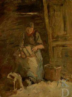 Anton Mauve Vrouw die vlas kneust, ca. 1885-1888 Laren Den Haag, De Mesdag Collectie, inv./cat.nr. 212