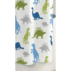 Dinosaur Printed Cotton Shower Curtain | Overstock.com Shopping - The Best Deals on Shower Curtains