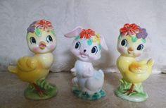 Vintage Ceramic Easter Bunny Rabbit & Baby Chicks Figurines Set of 3 - Japan
