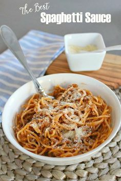 This creamy cheesy spaghetti sauce is the best out there! Simple to ...