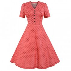 Ionia' Coral Polka Dot Tea Dress
