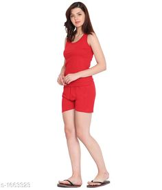 Checkout this latest Nightsuits Product Name: *Women Cotton Nightsuit* Top Fabric: Cotton Bottom Fabric: Cotton Top Type: Tank Top Bottom Type: Shorts Sleeve Length: Sleeveless Pattern: Solid Multipack: 1 Sizes: S, M, L, XL, XXL Country of Origin: India Easy Returns Available In Case Of Any Issue   Catalog Rating: ★3.9 (243)  Catalog Name: Women's Cotton Nightsuits CatalogID_216824 C76-SC1045 Code: 833-1663323-918