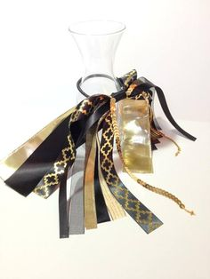 Black Satin & Gold Hair Ribbon Wedding Bows Flower Girl Hair