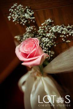 I'd use a light purple rose. I like using the satin ribbon for the bow. Tepee Wedding, Wedding Pews, Diy Wedding, Wedding Events, Wedding Flowers, Dream Wedding, Wedding Things, Wedding Stuff, Wedding Pew Decorations