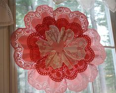 Valentine Doily Decoration made with paper doilies found at the Dollar Store.