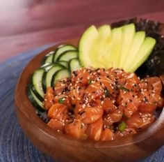 Healthy Lunch Ideas Discover Salmon Poké Bowl Satisfy your sushi craving with this twist on a hawaiian-inspired salmon poké bowl. Its refreshing comforting and incredibly delicious! Sushi Recipes, Salmon Recipes, Seafood Recipes, Healthy Dinner Recipes, Asian Recipes, Cooking Recipes, Protein Recipes, Fresh Tuna Recipes, Easy Japanese Recipes