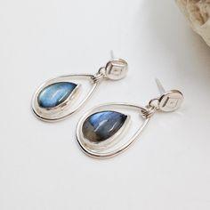 Blue Labradorite Earrings Artisan Metalsmith Rain by MosaicSmith