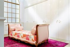 Ikea - closets - ikea closet, ikea closet system, french settee, pink settee, pink french settee, overdyed rug, overdyed pink rug,  Chic dressing