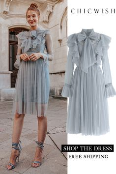 Floral and Ruffle Bowknot Tulle Dress - Outfits Women Mesh Dress, Tulle Dress, Dress Up, Knot Dress, Mode Ootd, Mode Hijab, Dress Outfits, Fashion Dresses, Prom Dresses
