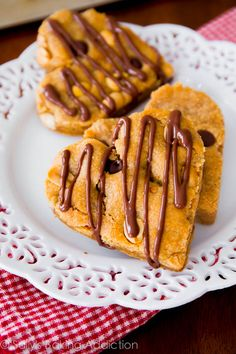 Whole Wheat Peanut Butter Blondies. So soft, chewy, and full of peanut butter flavor. You won't even realize these are lightened-up!