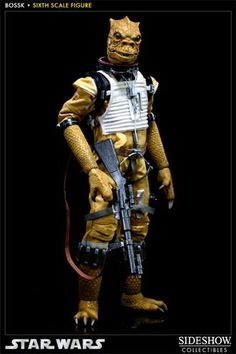 Bossk the Bounty Hunter Figure from Star Wars Episode IV A New Hope. It is made by Sideshow Collectibles and is 1:6 scale (approx. 30cm / 11.8in high). http://star-wars.minimodelfilmstuff.co.uk/starwars-collectable/star-wars-episode-iv-a-new-hope-bossk-bounty-hunter-figure-sideshow-collectibles-100057 Sideshow Collectibles is proud to announce the newest addition to the Star Wars Scum and Villainy Sixth Scale figure line, the ruthless Trandoshan Bounty Hunter, Bossk. The Boss...