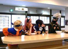Naruto, Sakura, and Sasuke waiting to see what's under Kakashi's mask.