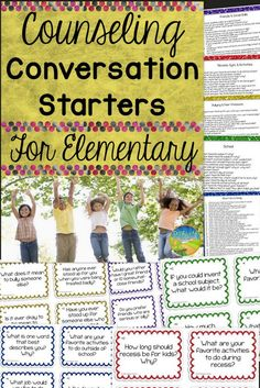 This resource includes over 170 unique and fun counseling conversation starter task cards. They are the ideal mix of questions regarding self, home, friends, school, family, and beliefs. Counselors can use these discussion cards as conversation starters or ice breakers to help students share information, open up, and begin to form positive relationships.