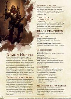 DnD Homebrew — Demon Hunter class by sonixinos Dungeons And Dragons Classes, Dungeons And Dragons Homebrew, Dungeons And Dragons Characters, Dnd Characters, Twilight Princess, D D Races, Dnd 5e Races, Dnd Classes, Dnd 5e Homebrew