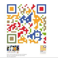 Colorful custom QR Code by QRoss Code. / QR Code personalizado feito pela QRoss Code.